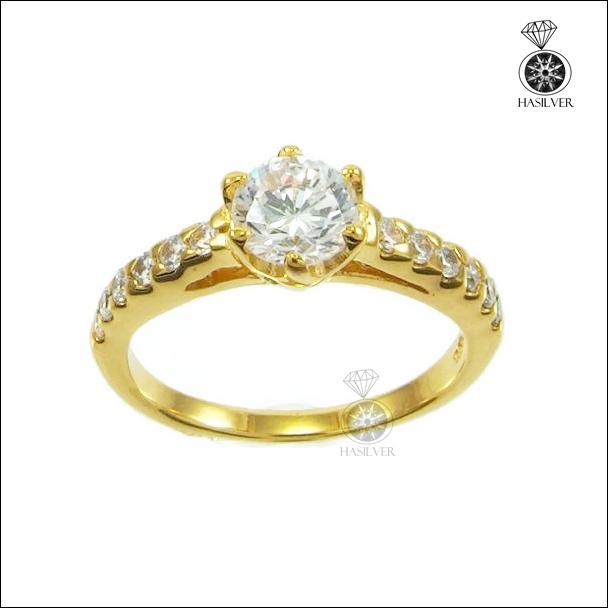 แหวนเงินแท้ ชุบทองไมครอน หนาพิเศษ ประดับเพชรCZ จากอเมริกา