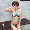 ชุดว่ายน้ำบิกินี่ทูพีช ตกแต่งลายสวยงาม สายคล้องคอ กางเกงสายผูกข้าง