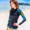 ชุดว่ายน้ำแขนยาว เสื้อน้ำเงินกรมท่า กางเกงขาสั้นตัดขอบเขียวสะท้อนแสง palm leaf