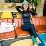 ชุดว่ายน้ำขายาว แขนยาว สีน้ำเงินกรมท่า ขอบข้างเสื้อลายสวยสีสันสดใส