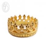 แหวนเงินเกลี้ยง เงินแท้ 92.5% แหวนมงกุฏ ชุบทองคำแท้ หน้าหว้าง 6 มม.