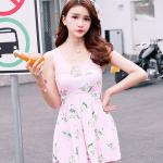 ชุดว่ายน้ำวันพีช สีชมพูสวยหวาน ลายดอกไม้