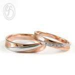 แหวนคู่รัก แหวนเงินแท้ 925 ชุบทองคำขาวและพิ้งโกล์ ฝังเพชร cz เพชรสังเคราะห์ เหมาะเป็นแหวนหมั้น แหวนแต่งงาน ของขวัญสำหรับคนพิเศษ