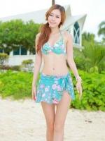 ชุดว่ายน้ำบิกินี่เซ็ต 3 ชิ้น สีฟ้าอมเขียวแต้มลายดอกไม้ชมพูสวยๆ