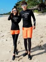 ชุดว่ายน้ำผู้ชาย ขายาว-แขนยาว สีดำ+สีส้ม