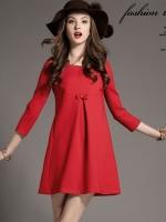 เดรสแฟชั่นเกาหลี ผ้า high elastic ตัดต่อผ้าลูกไม้ด้านหลัง มีกระเป๋าข้างลำตัว แบบสวม สีแดง