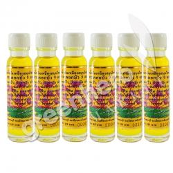 ไพลสกัดน้ำมันเหลืองสมุนไพรไทย – จีน ตราดอกบัว 9 ดอก (6 ขวด)