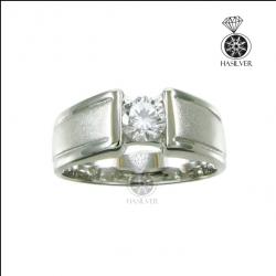 แหวนเงินแท้ แหวนเพชรCZ แหวนเพชรสวิสชาย เท่ๆ