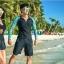 ชุดว่ายน้ำแขนยาว ผู้ชาย สีดำแขนฟ้าลายโบฮีเมียน thumbnail 7