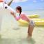 [พร้อมส่ง]BKN-014 ชุดว่ายน้ำแขนยาวเอวสูง เสื้อชมพู เอวสูงขาวลายจุด thumbnail 4