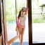 [พร้อมส่ง]BKN-124 ชุดว่ายน้ำแขนยาวสีชมพูขาว เสื้อเปิดร่องอกเซ็กซี่ (เสื้อแขนยาว+บิกินี่) thumbnail 6