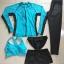 ชุดว่ายน้ำแขนยาว ขายาว สีฟ้า+ดำ เซ็ต 5 ชิ้น (บรา+บิกินี่+กก.ขาสั้น+กก.ขายาว+เสื้อคลุม) thumbnail 2