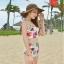 ชุดว่ายน้ำเอวสูง สีครีม ลายดอกไม้สวยๆ ((เสื้อเกาะอก ไม่มีสายคล้อง)) thumbnail 5