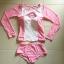 [พร้อมส่ง]BKN-124 ชุดว่ายน้ำแขนยาวสีชมพูขาว เสื้อเปิดร่องอกเซ็กซี่ (เสื้อแขนยาว+บิกินี่) thumbnail 10