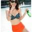 ชุดว่ายน้ำเอวสูง บราสีเขียวเข้มแต้มจุดส้ม กางเกงสีส้มสดใส thumbnail 5