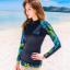 ชุดว่ายน้ำแขนยาว เสื้อน้ำเงินกรมท่า กางเกงขาสั้นตัดขอบเขียวสะท้อนแสง palm leaf thumbnail 1