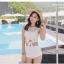 ชุดว่ายน้ำ สีขาวผ้าลูกไม้ ด้านหลังซีทรู กางเกงเอวสูง thumbnail 3