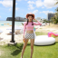 [พร้อมส่ง]BKN-014 ชุดว่ายน้ำแขนยาวเอวสูง เสื้อชมพู เอวสูงขาวลายจุด thumbnail 7