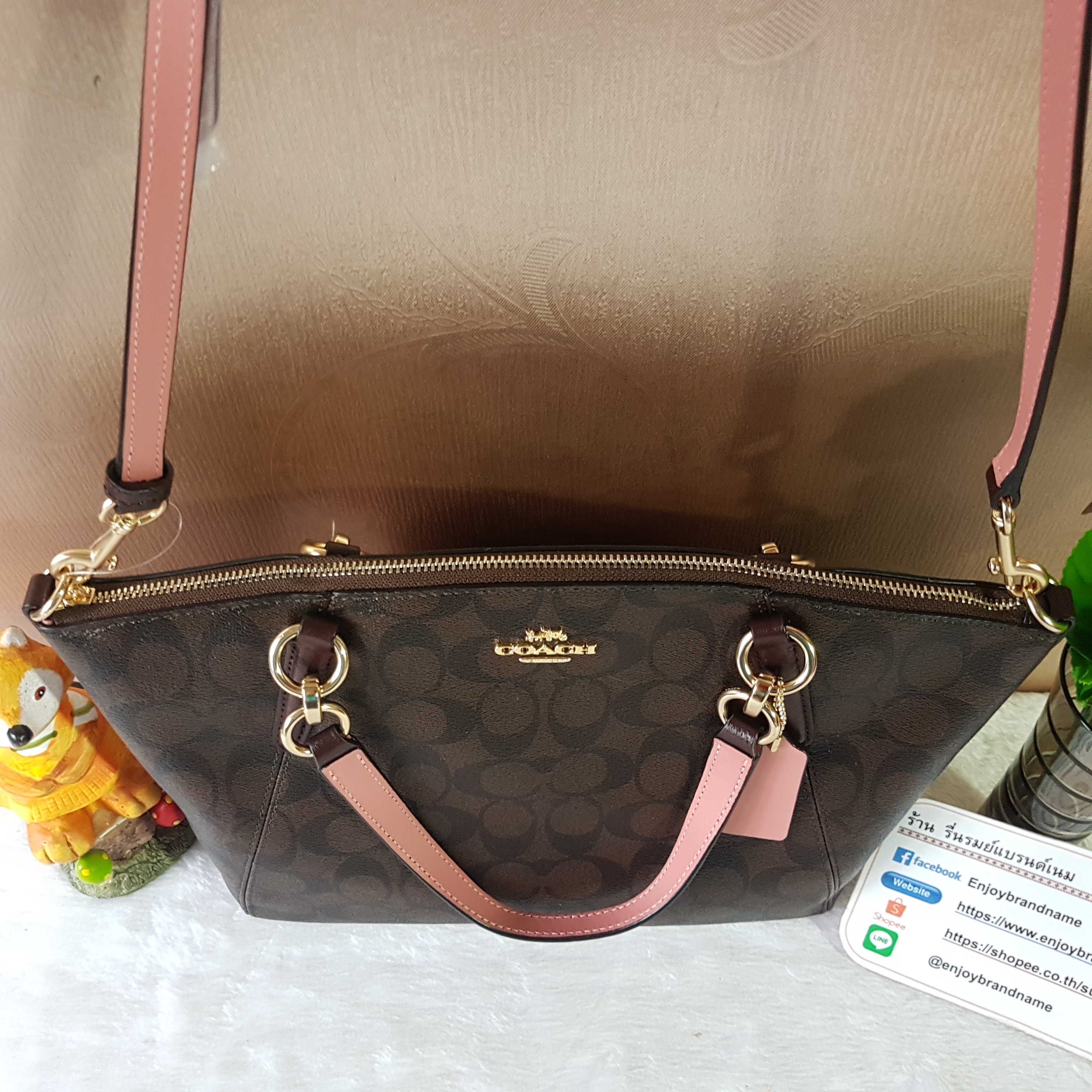 2e0301cd3c8d COACH F28989 SMALL KELSEY SATCHEL IN SIGNATURE CANVAS COLOR   IMITATION GOLD  BROWN OXBLOOD